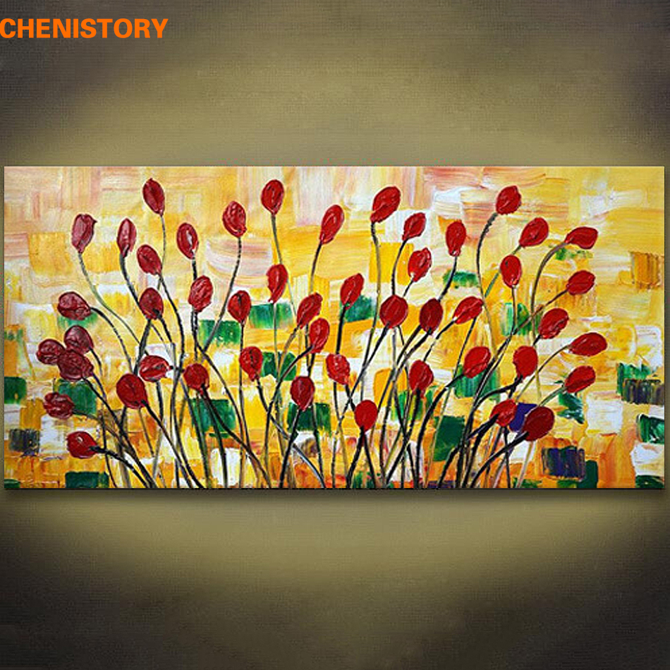 Unframed Palette Knife Painting Abstract Flower Handpainted Oil ...