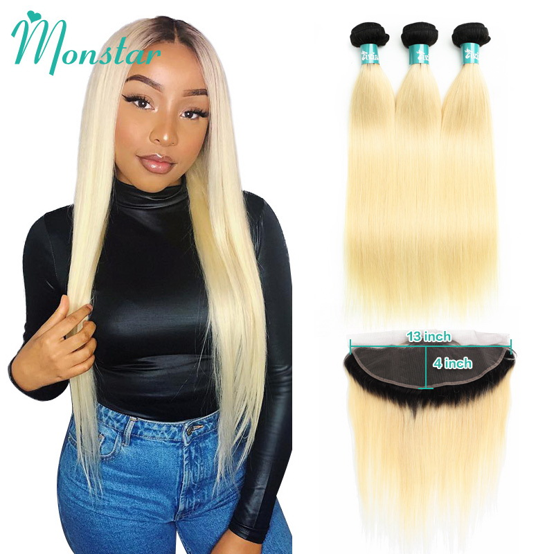 Monstar 1B 613 13 4 Ear to Ear Lace Frontal Closure with 2 3 4 Bundle