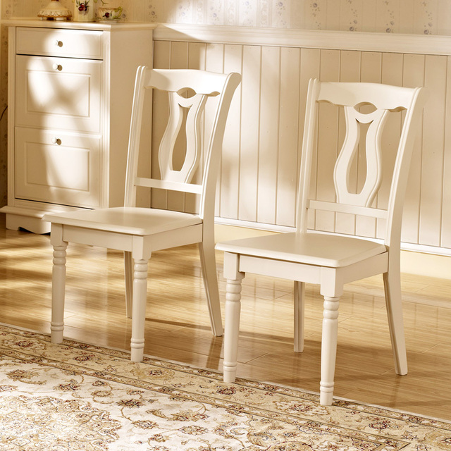 Debon PREMIER Modern Stylish Simplicity European Ivory White Wood Dining  Chairs AS (6K26 #)