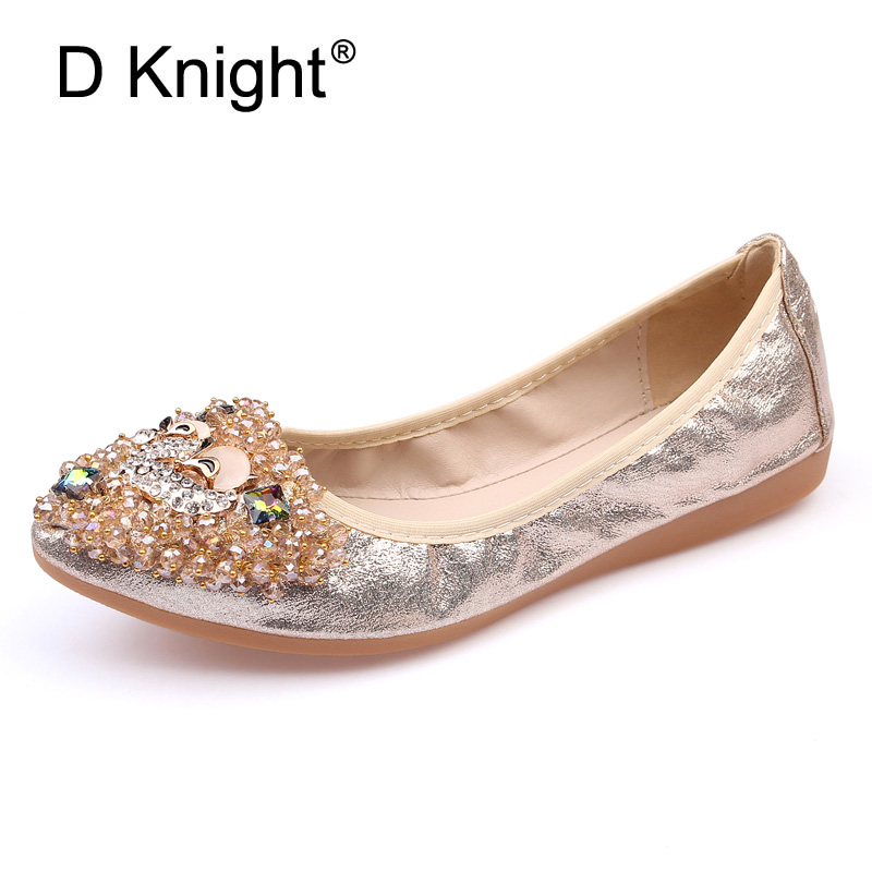 Fox Rhinestone Design Women Soft Ballet Flats Rubber Buttom Pointed Toe Elegant Shoes Woman Slip-on Causal Loafers Plus Size 43