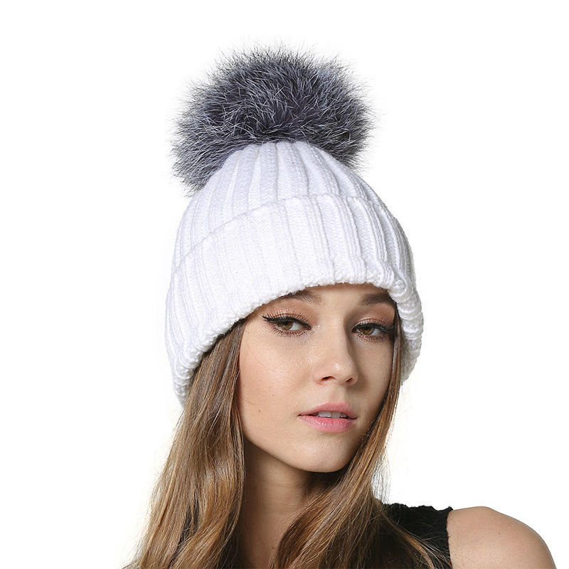 MEEFUR 2017 Female Knitting Beanies Female Solid Skullies with Real Silver Fox Fur Ball on the top Winter Warm Caps AU00956 skullies