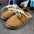Натуральная Кожа Ручной Британский Ветер Детская Обувь Впервые Ходунки Малышей Детские Мокасины противоскользящие Детские босоножки Мягкие moccs детская Обувь