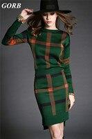 GORB 2017 Autumn Newest Europe Style Brand Women Plaid Christmas Gift Sweater 2Pcs Set Knit Long