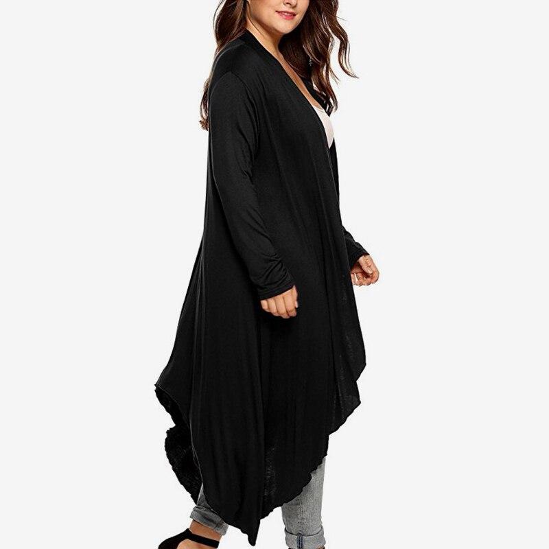 Tops Tamaño blanco Mujeres Plus Mujer Manga Completa 2018 púrpura Negro Blusa Xl Para Caidigan De Blanco Otoño azul Femenino Irregular Las Kimono Negro 5xl XqwOgFaT