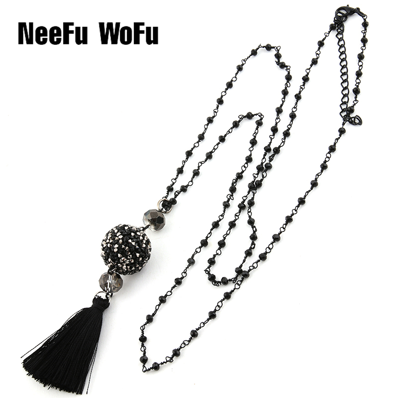 Pendant Necklaces Big 20mm Rhinestone Ball Necklace Handmade 2mm Black Crystal Wrapped Beads Bohemian Tassel Long Necklace