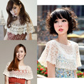 New fashion women's cotton crochet hollow out shawl,hook flower cape tops openwork smock waiscoat