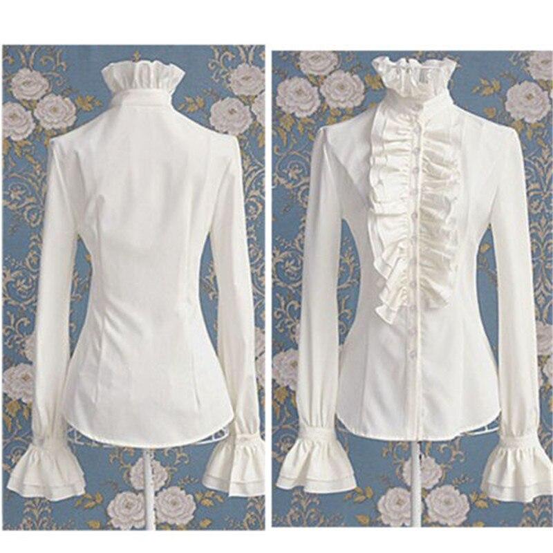 Victorian Women Ladies Bell Long Sleeve Shirts High Neck Frill Ruffle Blouse OL Office Lady Shirts Ruffle Cuff Shirts Clothing