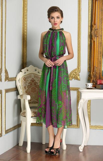 d21e0d0c82 Brand Women Long Green Silk Dresses NEW Bohemia Style Ladies Beach Dress  Fashion Ladies Boutique Summer Floral Dressy Dresses