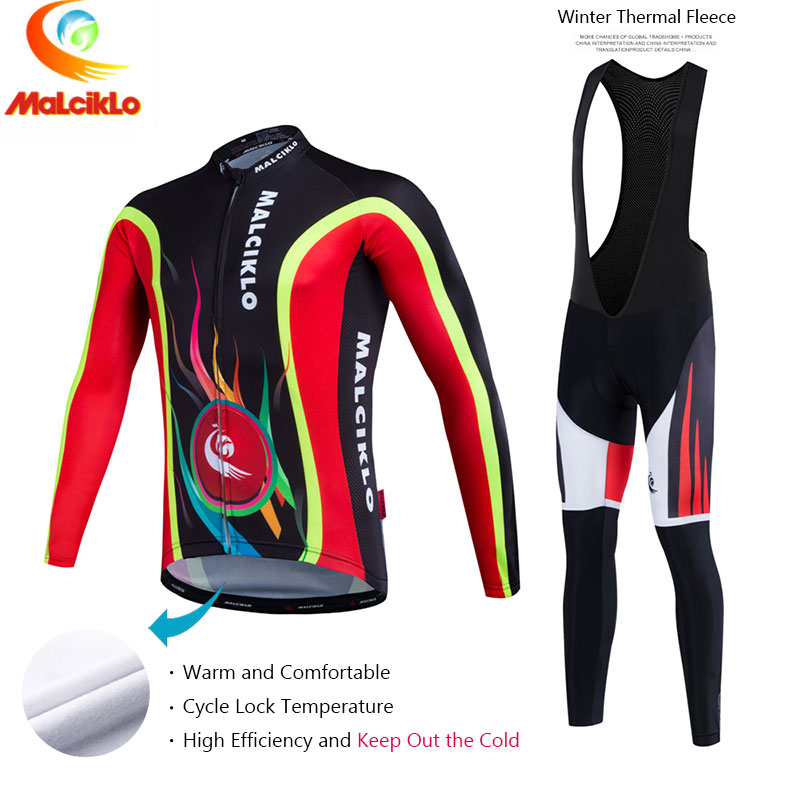 Malciklo 2017 Pro Fabric Cycling Winter Thermal Fleece Jersey Long Set Ropa Ciclismo Bike Bicycle Clothing