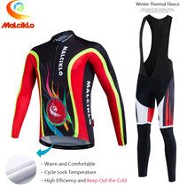Malciklo 2017 Pro Tela Ciclismo Winter Thermal Fleece Jersey Largo Set Ropa Ciclismo Bike Ropa Bicicletas Pantalones Mantener Caliente W015