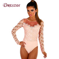 Dreszdi Sexy Long Sleeve Patchwork Mesh Lace Bodysuit Women Elegant Crochet Bodysuit Bodycon Body Feminino Tops