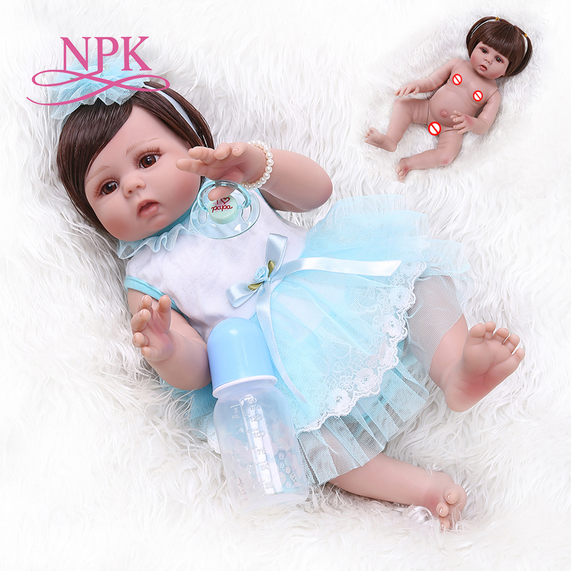 NPK 48CM newborn bebe doll reborn baby girl in tan skin full body silicone soft realistic