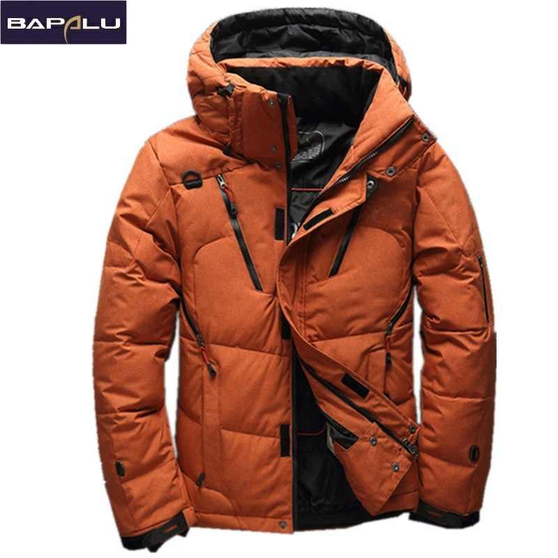 d9ae18940aa2 2018 Высокое качество 90% белый утиный пух куртка Мужская пальто Зимние  Парки Мужская теплая брендовая