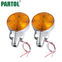 Partol 12V Motorcycle Turn Signal Light Moto Side Marker Light Motobike Auxiliary Driving Light Amber Flat