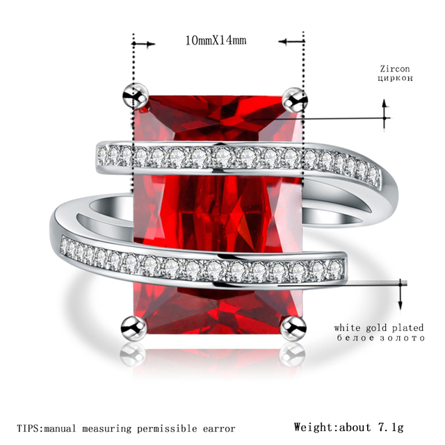 MDEAN White Gold Color Wedding Engagement Rings for Women AAA Zircon Fashion Jewelry Women Bague Bijoux Size 6 7 8 9 10  H353