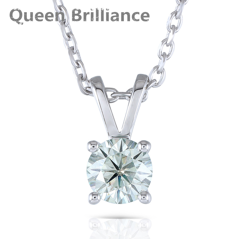 Pendant Necklace Platinum Plated Silver 1 Carat 6.5mm Lab Grown Moissanite Round Solitare With Platinum Plated Silver Chain