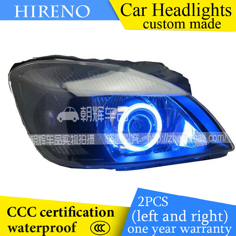 Hireno custom Modified Headlamp for KIA RIO K2 2005-07 Headlight Assembly Car styling Angel Lens Beam HID Xenon 2 pcs headlight for kia k2 rio 2015 including angel eye demon eye drl turn light projector lens hid high low beam assembly