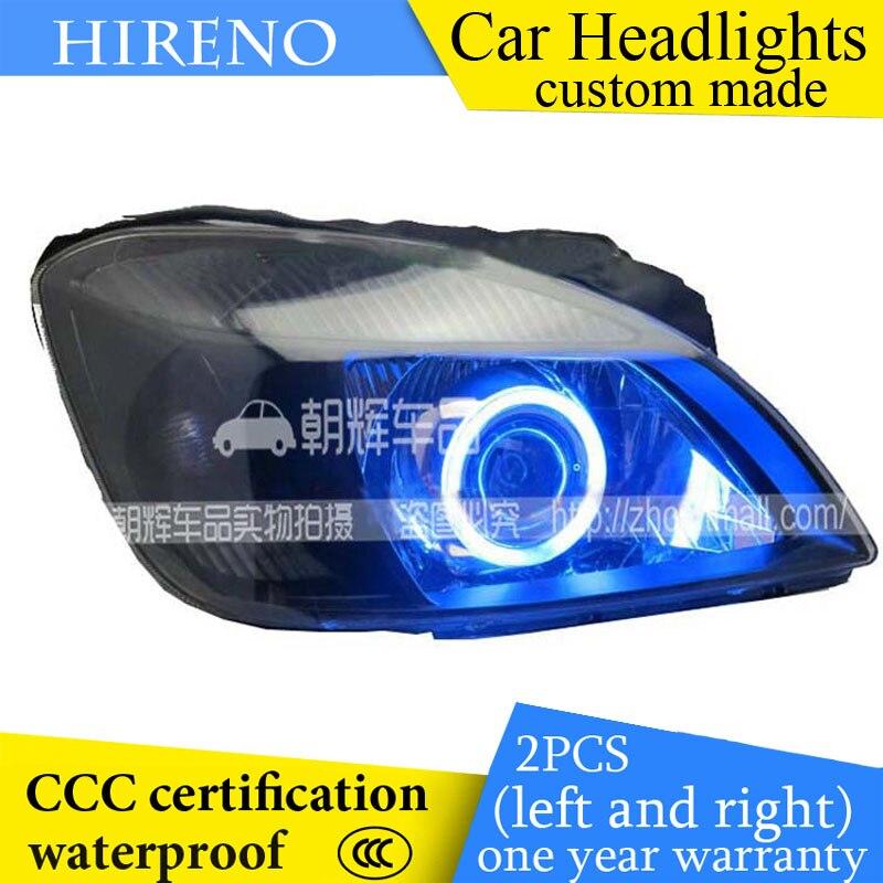 Hireno custom Modified Headlamp for KIA RIO K2 2005-07 Headlight Assembly Car styling Angel Lens Beam HID Xenon 2 pcs