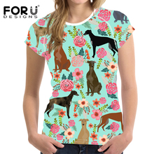 FORUDESIGNS Women T Shirt Cartoon GreyHounds Print T-shirt Ladies Cute Dog Rescue Dog Floral Tee Shirt Female Tops for Teen Girl dog print tee