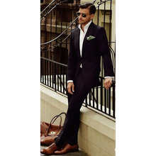 Black Men Suit Costume Homme Terno Masculino Slim Fit Formal Blazer Business Wedding Bestmen Groom Suits Mens 2 Pieces Tuxedos