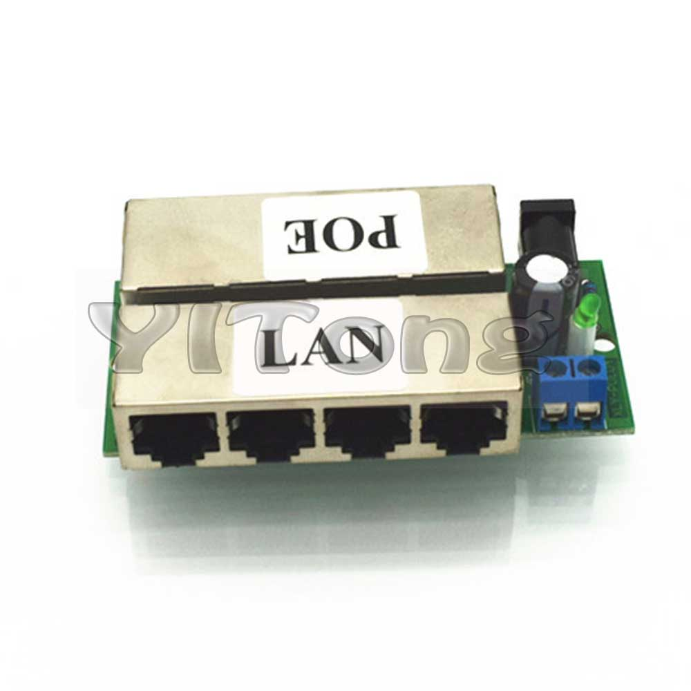 Power Over Ethernet Module Injector 4 LAN ports and 4PoE adapter Pin 4 5/7 8 For DC 48V Plug IP Camera