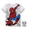 Retail 2014 boy's t shirt Spiderman 100% cotton short-sleeved t-shirt printing children's cartoon gray kids boys child's clothes