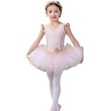 Elegant Ballet Dress for Kids Girls Fly Sleeve Lace Tulle Tutu Dance Cute Child Princess Performance Leotard