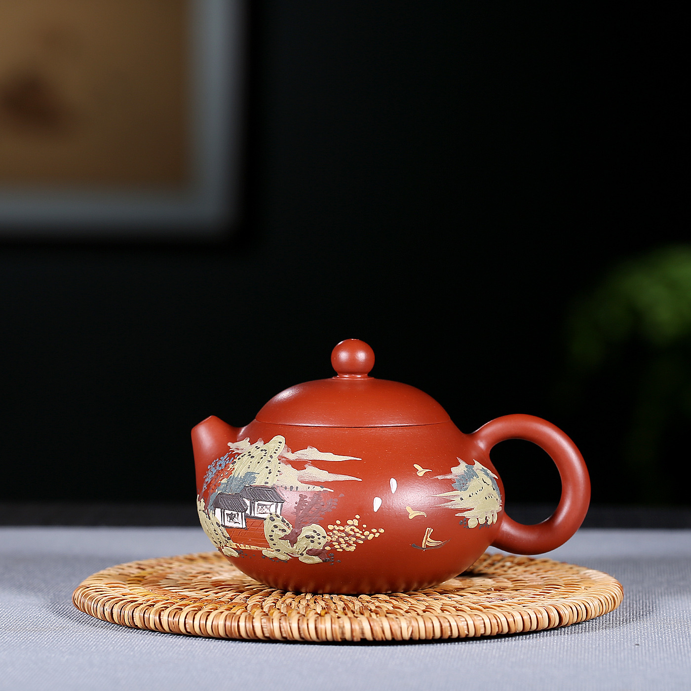 Bright Red Fan Zehongs Mud Painting Of Robes Landscape Pomelo Kettle Kung Fu Tea Have Gift Infusion Of Tea Kettle WholesaleBright Red Fan Zehongs Mud Painting Of Robes Landscape Pomelo Kettle Kung Fu Tea Have Gift Infusion Of Tea Kettle Wholesale