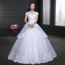 robe de soiree Ball Gown 2018 Charming ivory Tulle Lace Edge Sequined Beads V-ne