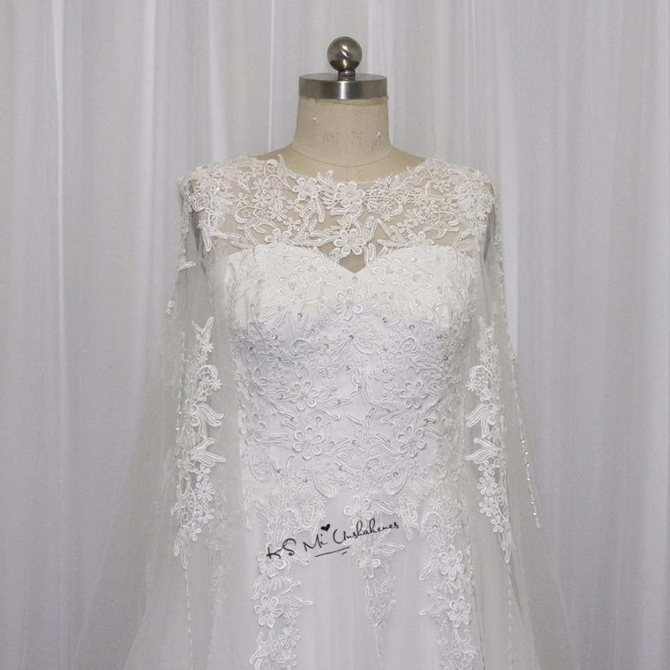 US $19.19 19% OFFHochzeitskleid Simple Cheap A Line Wedding Dress Lace  with Cape Beads Wedding Gowns Custom Made China Bride Dresses  Mariagewedding