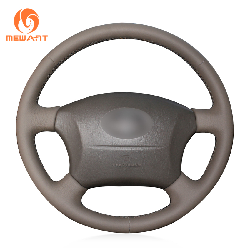 MEWANT Dark Brown Genuine Leather Steering Wheel Cover for Toyota Land Cruiser Prado 120 Land Cruiser 2003-2007 Tacoma 2005-2011