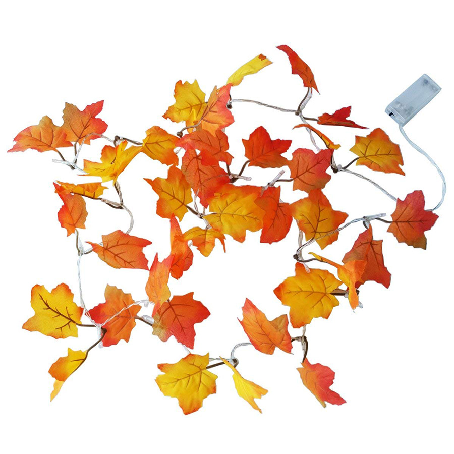Battery Operated 10leds 20leds 30leds 40leds Maple Leaf LED String Lights Autumn Stair Railing Decoration Plants Fence Lights