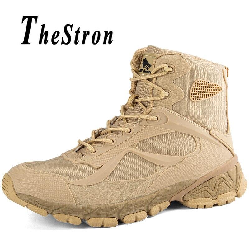 Homme chaussures de randonnée taille 40-45 hommes bottes tactiques militaire noir sable couleur chaussures de montagne automne hiver Trekking bottes hommes