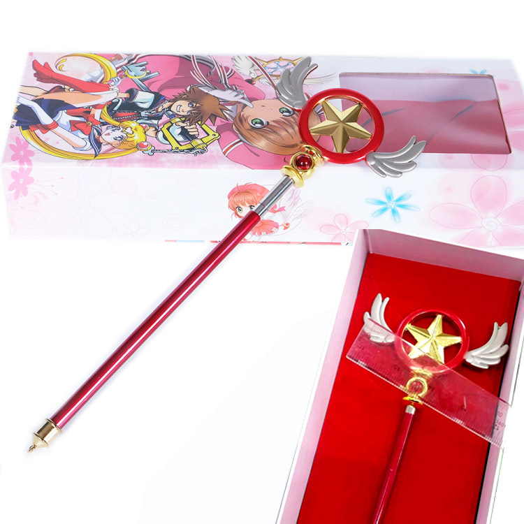 Telescopic Metal Material Magic Wand Sakura Kinomoto Three Style Cardcaptor Sakura Cosplay Props Maximum Length About 20 In Novelty & Special Use Costume Props