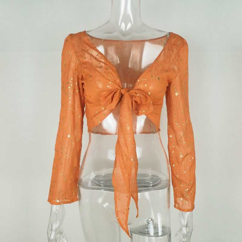 ... Orange Stars Sequines Blouse Women Deep V Neck Long Sleeves Wrap Crop  Top Casual Cropped Boho ... 0b67470552a