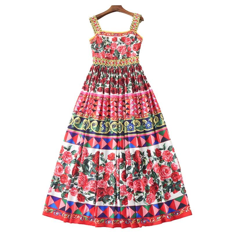 Women Summer Dresses 2019 High Quality Runway Beading Printed Spaghetti Strap Long Dress Casual Maxi Dress
