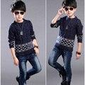 Outono Crianças Meninos Blusas de Tricô Crianças Blusas E Casacos de Lã de Moda Casaco Grosso das Crianças Meninos de Roupas Casuais Blusas