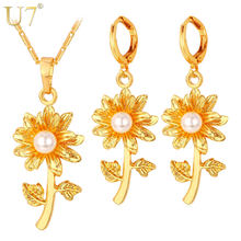 U7 Flower With Simulated Pearl Jewelry Set Gold/Silver Color Earrings Necklace Set Women Jewelry S780(China)