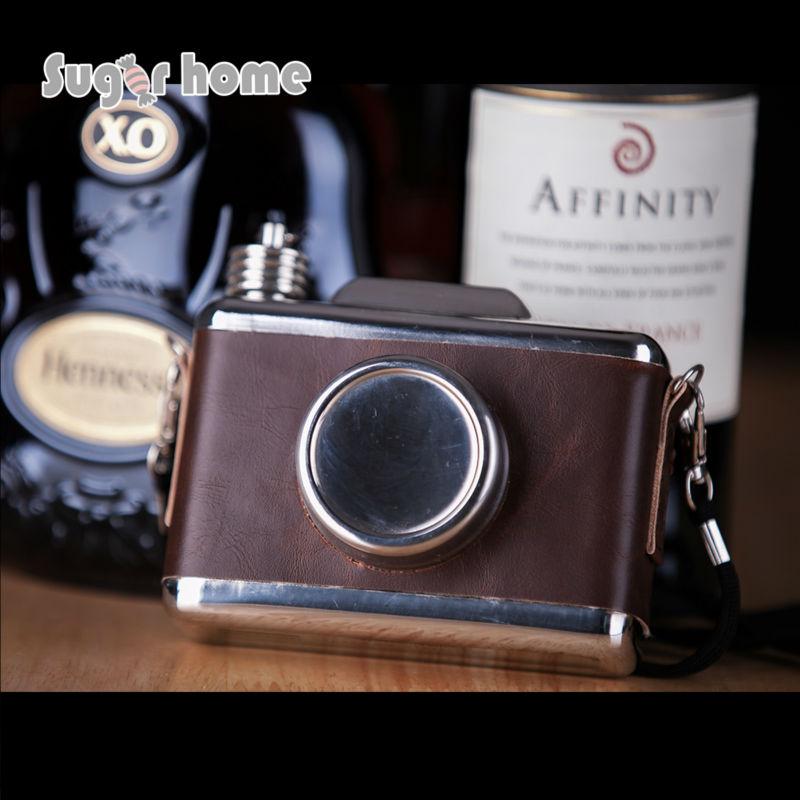 Mealivos fényképezőgép alakja 11 oz Élelmiszerbiztos rozsdamentes acél csöpögös lombik alkohol alkoholtartalmú vodka Whisky üveg groomsmen ajándékok