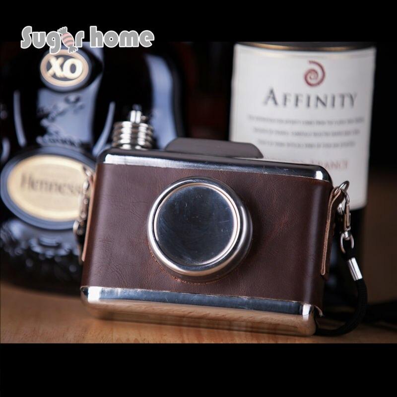 Mealivos kamera form 11 unze Lebensmittel sicher Edelstahl Hüfte Glaskolben Glaskolben für Alkohol Flasche wodka Whisky flasche groomsmen geschenke