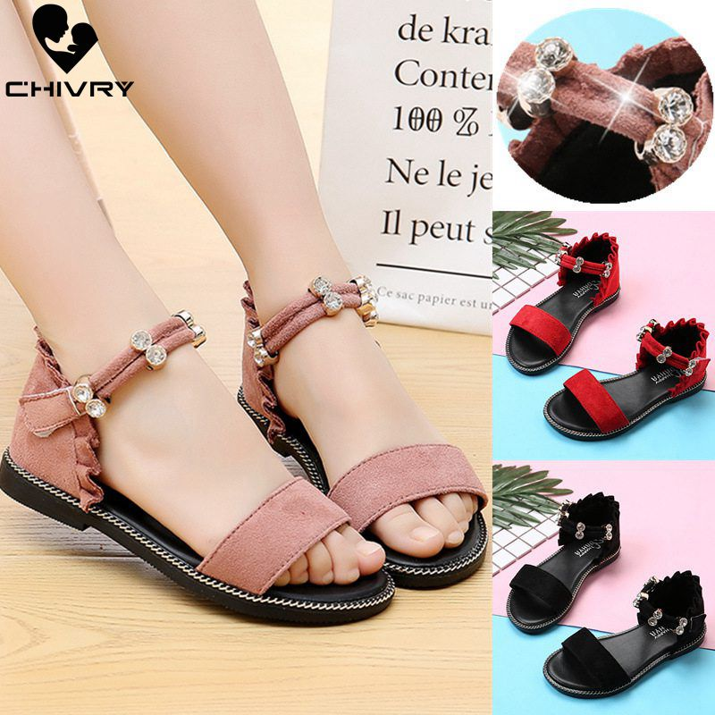 Chivry 2019 New Summer Children Girls Sandals Fashion Rhinestone Princess Shoes Kids Flat Party Banquet