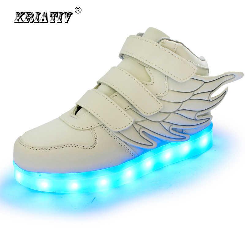 KRIATIV รองเท้าเด็กเรืองแสงรองเท้าผ้าใบรองเท้าแตะ led ตะกร้าเด็ก led light up รองเท้าเด็กทารกรองเท้าส่องสว่างรองเท้าผ้าใบเด็กผู้หญิง