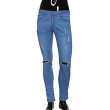 Ubrania męskie Plus rozmiar 3XL dżinsy niebieski czarny wąskie spodnie jeansowe moda na co dzień znajdujących się w trudnej sytuacji otwór zgrywanie ołówkowe dżinsy dla chłopców 2019 tanie tanio Mężczyźni Denim Zipper fly light skinny Zmiękczania Ołówek spodnie Midweight Pełnej długości Stałe Przycisk men s Jeans for the beach