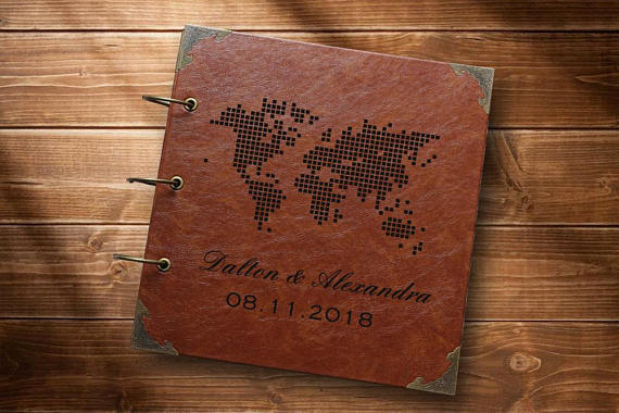 World Map Photo Album Travel Photo Album Leather Photo