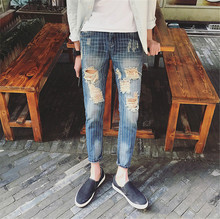 biker jeans men spring and summer 2016 new mens ripped jeans mens jeans Plus Size 28-34