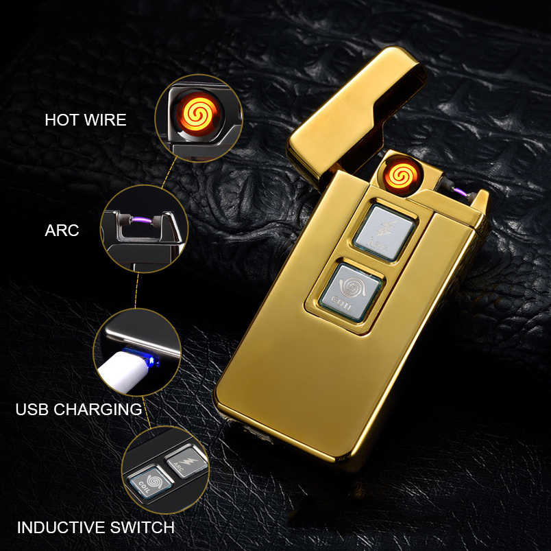 USB Rechargeable Cigarette Lighter Plasma Arc Dual-purpose Flameless Pulsed  USB Lighter Windproof Smoking Electronic Lighters