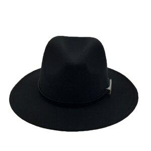 Image 2 - Brede Rand Herfst Trilby Caps Vrouwelijke Mannelijke Mode Top Hat Jazz Cap Winter Panamahoed Vintage Fedora Mannen Mafia Hoed Vilt YY17294