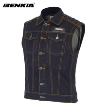 BENKIA Women Motorcycle Jacket Riding Denim Jacket Vest Jean Jacket Protector Spring Summer Autumn Sleeveless Jaqueta Motoqueiro
