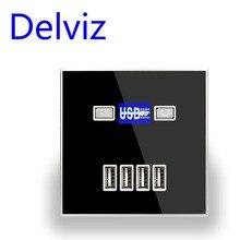 купить Delviz Wall usb socket charger,Crystal panel 4 hole 3A usb 5V,86mm*86mm square Cell phone power socket panel usb charging socket по цене 131.33 рублей