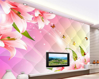 beibehang 3d wallpaper High-level decorative painting personality 3D stereo lace butterfly flowers TV backdrop large wallpaper